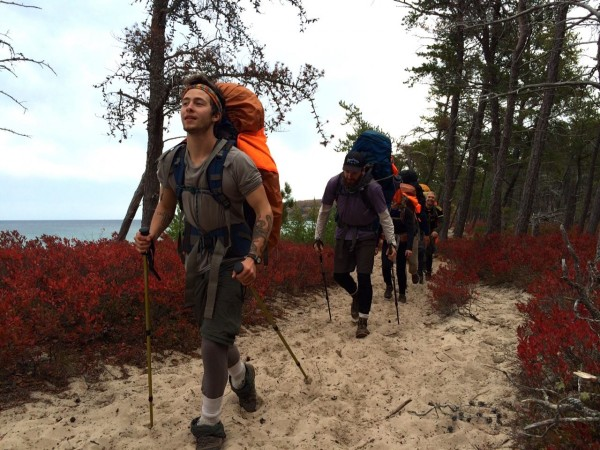 Dash participaing in the Professional Development semester, backpacking for six days along the North Country Trail