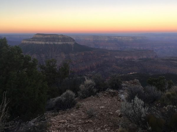 Image of the rock formations and shrubbery of the Grand Canyon, which appear dark colored in the photo due to it being pre-dawn. In the background, a yellow sunrise with a thin orange strip spreads across the sky.